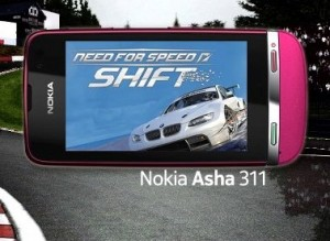 Nokia Asha 311 gaming NFS Car Challenge