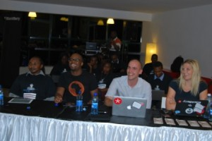 mem maina, mbugua njihia, gert louis and lany sommers judges at blackberry hackathon nairobi